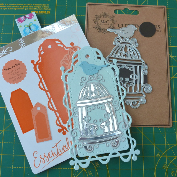 Tonic tags dies and birdcage die cutting set from theworks combined for a greeting card project