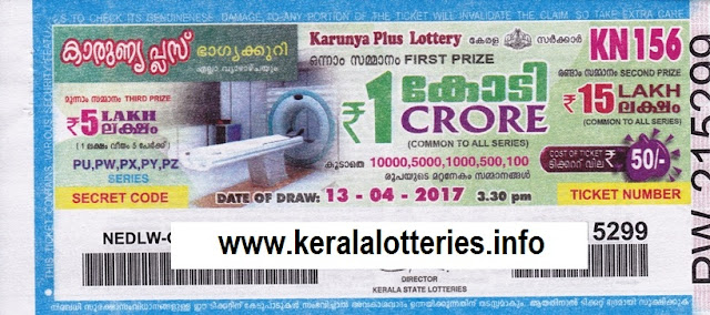 Kerala lottery result of Karunya Plus_KN-156 on 13 April 2017