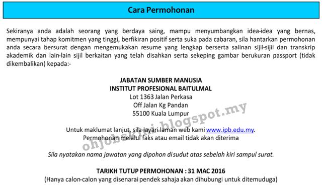 Jawatan Kosong Institut Profesional Baitulmal (IPB)