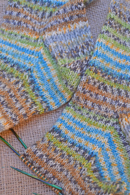 heel gusset for hand knit socks, Yarn Along, and reading My Familiar Stranger