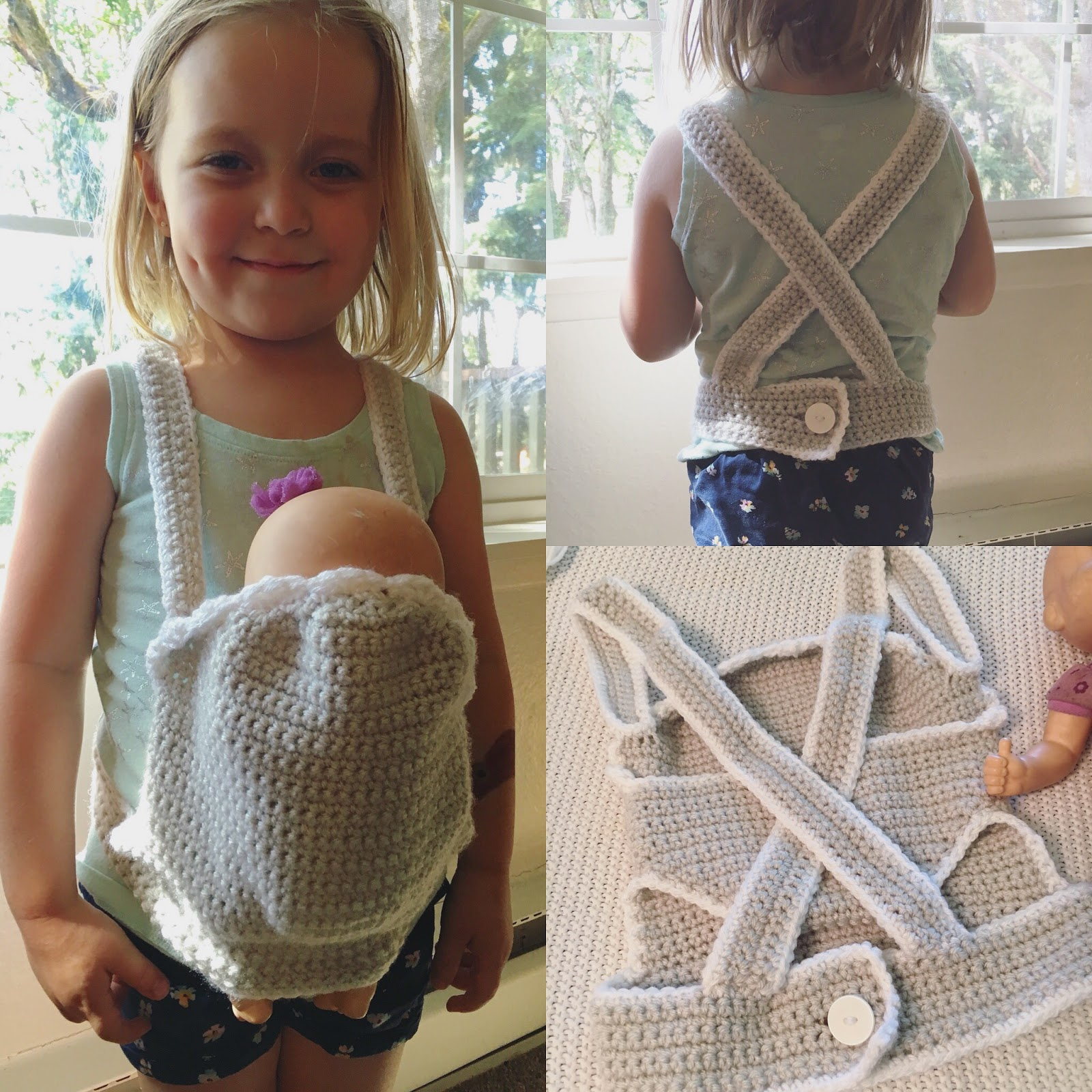 Free Crochet Pattern Baby Carrier : Corn on the Monkey: FREE PATTERN- Crochet baby doll carrier