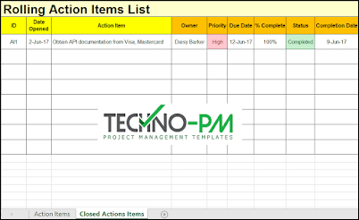 rolling action item list excel template, rolling action item list, action item tracker