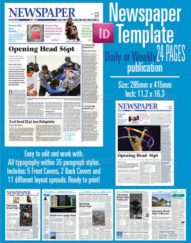 Best Print Newspaper Templates In Adobe Indesign & Photoshop