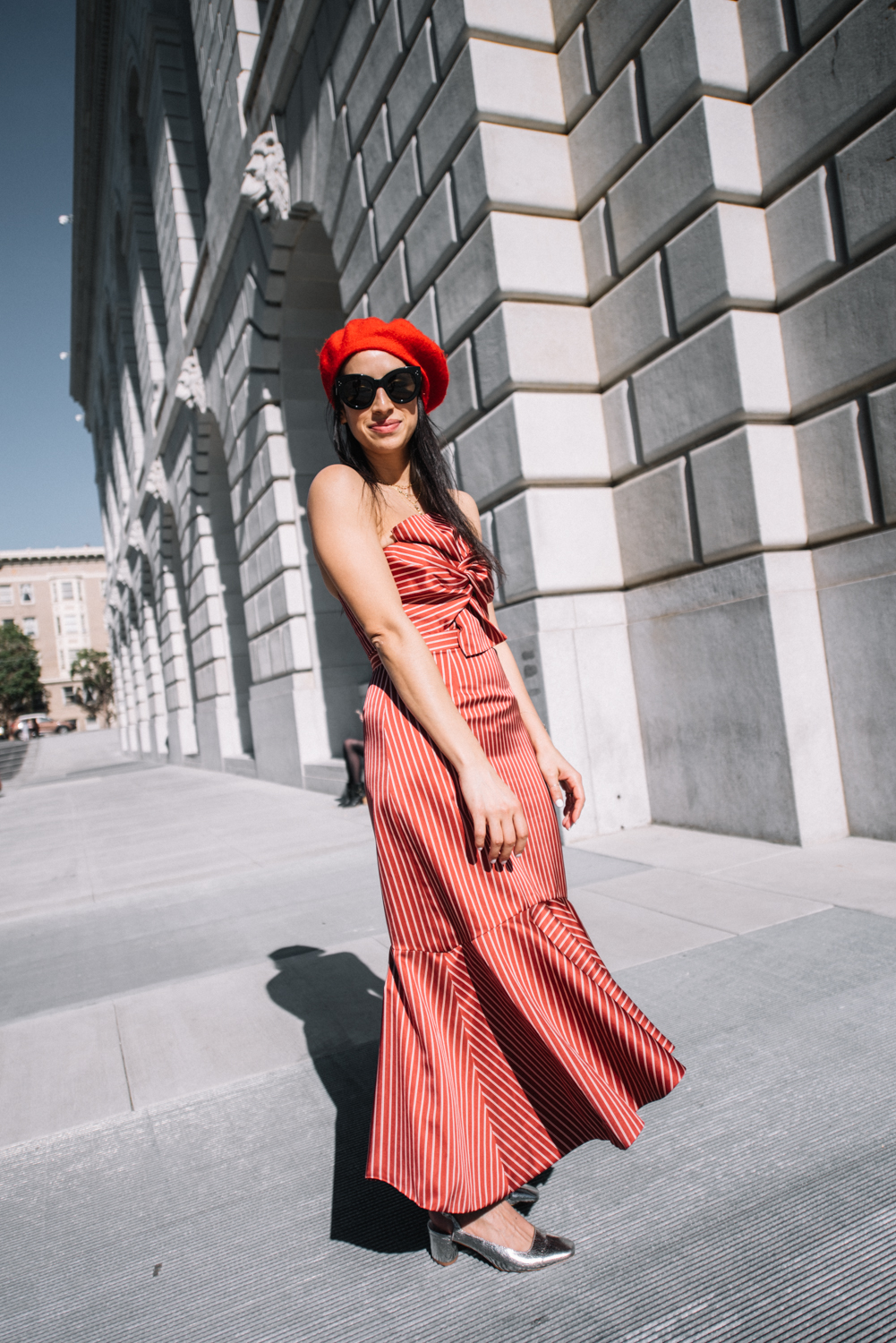 Amur Eva striped dress, AMUR,  AMUR Eva dress, San Francisco fashion blogger, metallic shoes, red beret, beret trend 2018