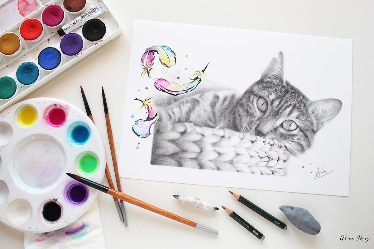 Retrato de tu mascota dibujado a lápiz y acuarela