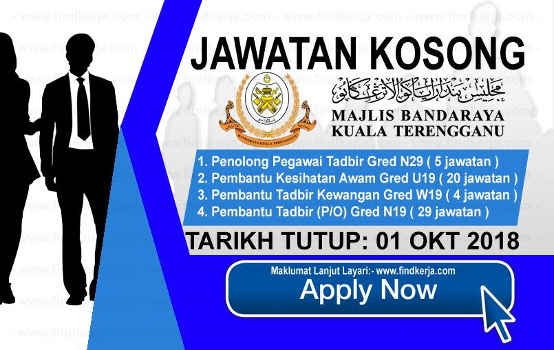 Jawatan Kerja Kosong MBKT - Majlis Bandaraya Kuala Terengganu logo www.ohjob.info www.findkerja.com oktober 2018