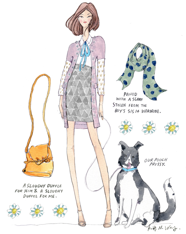 SS14 Burberry Girl fashion illustration with black white collie dog and accessories