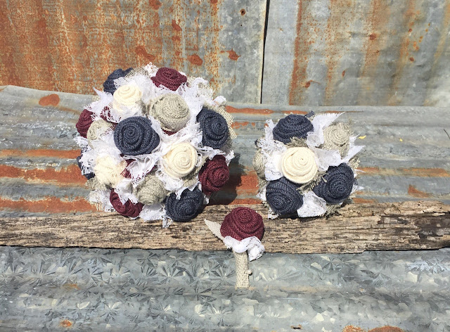 rustic bridal bouquet, toss bouquet, and boutonniere