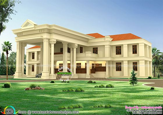 Long pillar colonial home design