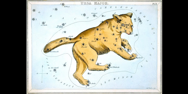 Ursa Major, the constellation of the Great Bear, from Urania's Mirror, a colourful set of constellation cards published by Samuel Leigh in England in 1824. Over the years, the star at the end of the tail has been known by two popular names, Alkaid and Benetnasch. On this card it is called Benetnasch, but the IAU Working Group on Star Names (WGSN) has chosen the more common alternative of Alkaid as its official name. Among the star names on this 1824 map of Ursa Major that are recognised by the IAU as official proper names are Alcor, Alioth, Dubhe, Megrez, Merak, and Mizar.  Other names on this map have been included in a growing database of cultural and historical names for stars, and some of these may eventually be adopted as official IAU names after further research and deliberation by the WGSN.  Credit:  IAU