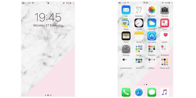 iPhone lock screen and home screen