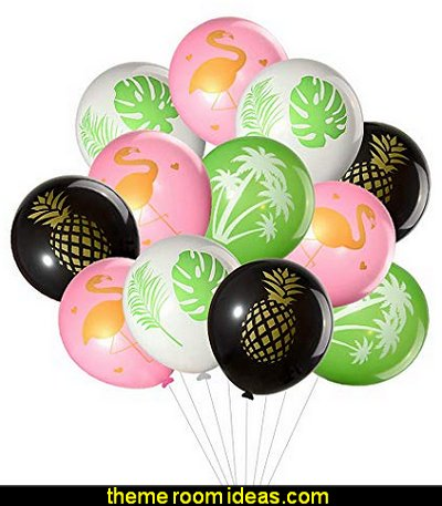Tropical Party Balloons, Flamingo, Palm Tree, Pineapple, Tropical Leaves Design Latex Balloons for Hawaiian Wedding Birthday Baby Shower Party Favors