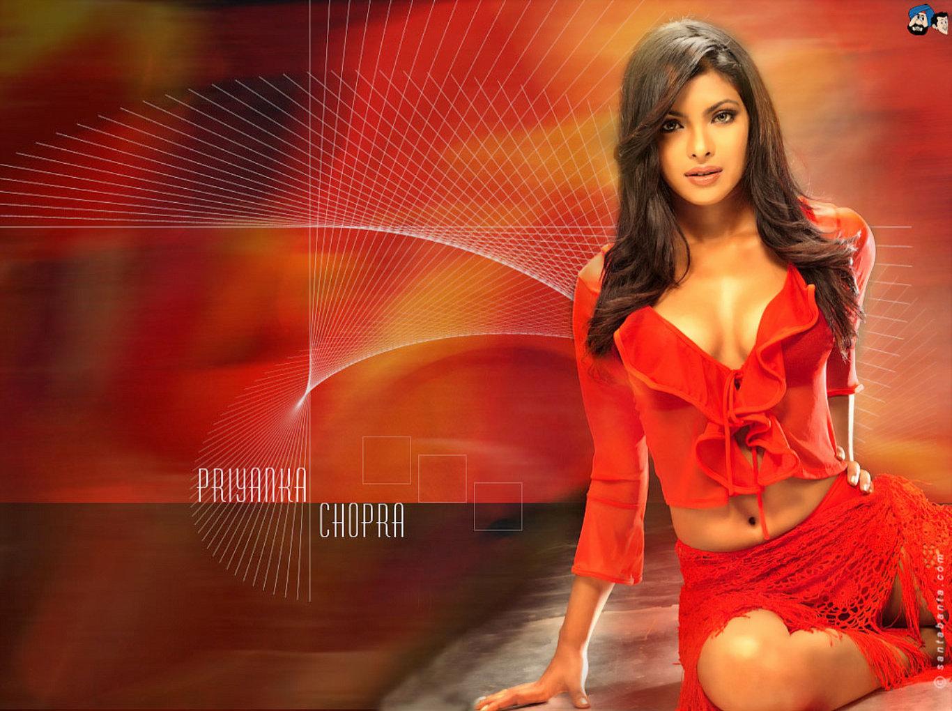 Priyanka Chopra Hot Red Dress Wallpaper