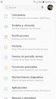 screenshot of Samsung phone settings menu in Spanish