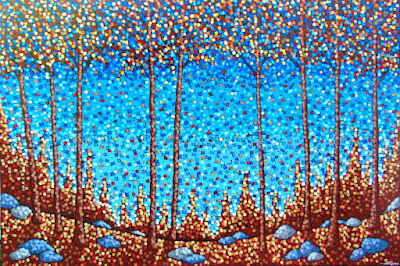 Falling Leaves painting by artist aaron kloss, painting of maples in fall, painting of leaves falling, falling leaves, colorful leaves, pointillism