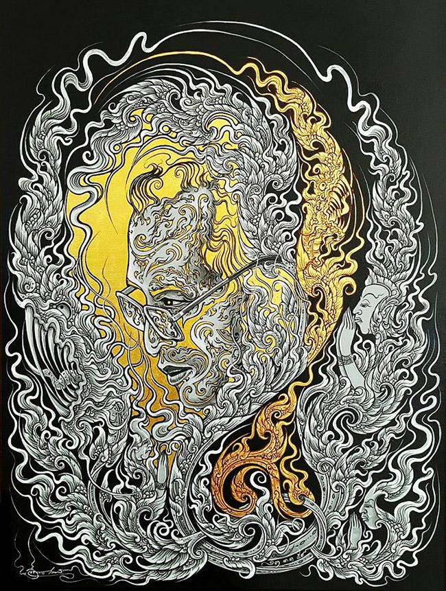 Weerayut Srikesorn วีรยุทธ ศรีเกษร - Thai King Rama IX Art