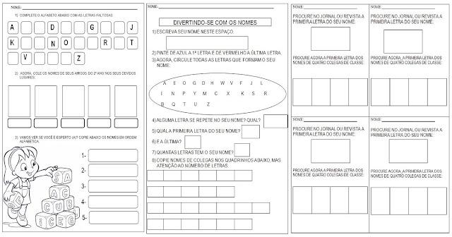 Confira nesta postagem Atividades para Alfabetização prontas para imprimir - Atividades com nomes.