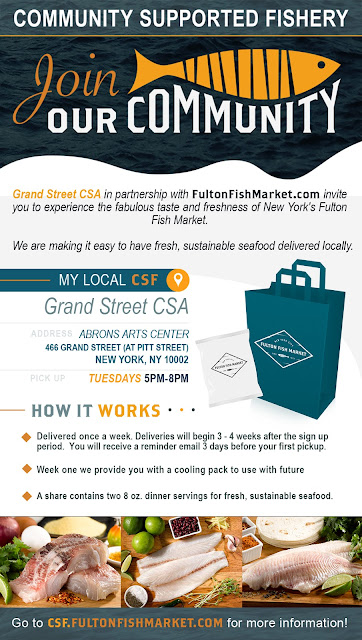 Opportunity for CSA members to join FultonFishMarket.com's Community Supported Fishery!  Each share contains two 8oz servings of fresh, sustainable seafood. Delivered once a week (during our regular share pickup). Deliveries begin 3 to 4 weeks after sign up period. You will receive an email reminder 3 days prior to the first pickup.  For more information, please visit https://csf.fultonfishmarket.com