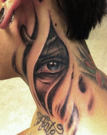 eyes on neck tattoos