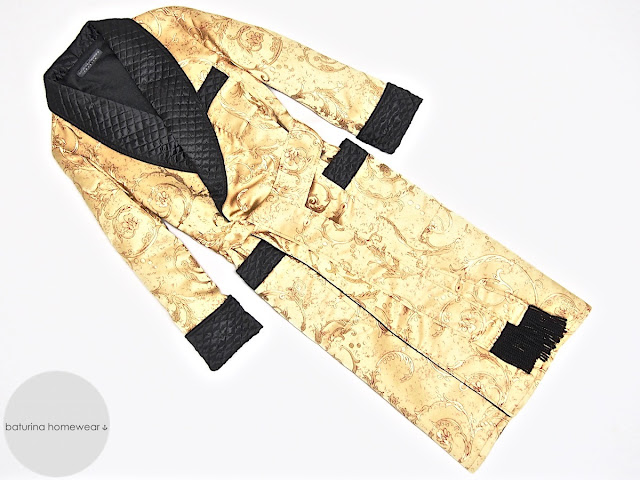 Mens paisley silk dressing gown quilted robe gold black smoking jacket