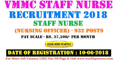 VMMC Staff Nurse Recruitment 2018