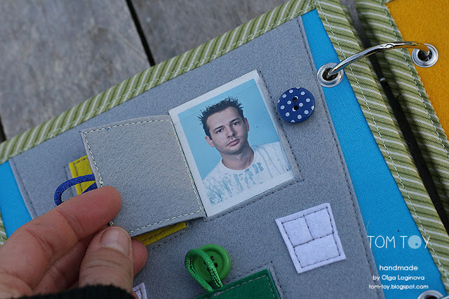 Little quiet book for Dylan, Handmade busy book by TomToy, family photo page