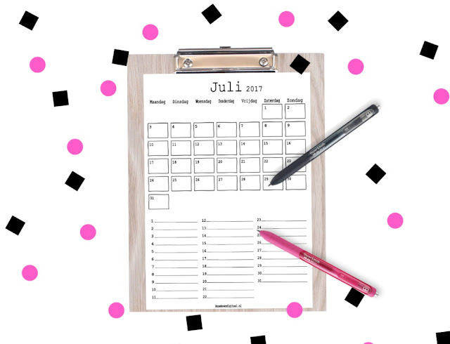 juli 2017 kalender voor kinderen, maandkalender, aftelkalender voor kinderen, gratis juli 2017 kalender, planner mascha, mascha planner insert