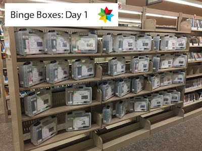 Binge Boxes on display at Bismarck Veterans Memorial Public Library