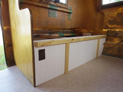 interior bench framing in a fiberglass trailer