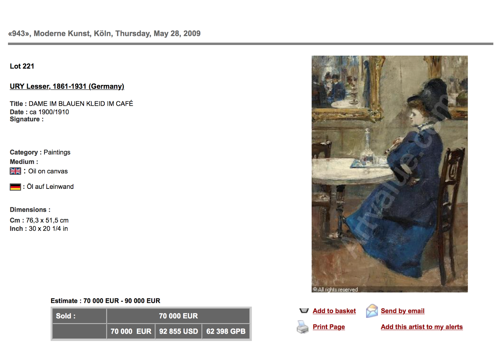 Lesser Fry Painting sold for $92,855, December, 2009 NOT disclosed by Auctionata