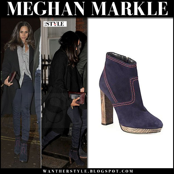 Meghan Markle in blue suede ankle boots burberry hazelhurst and black coat what she wore