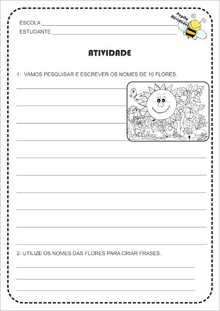 Atividade Projeto Primavera Lista de Palavras e Formação de Frases