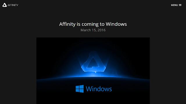 Affinity comunica il lancio della versione per Windows