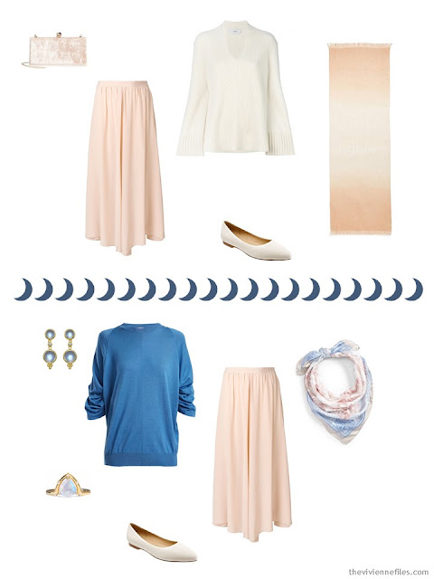 2 ways to wear a pale coral silk skirt from a Tote Bag Travel capsule wardrobe