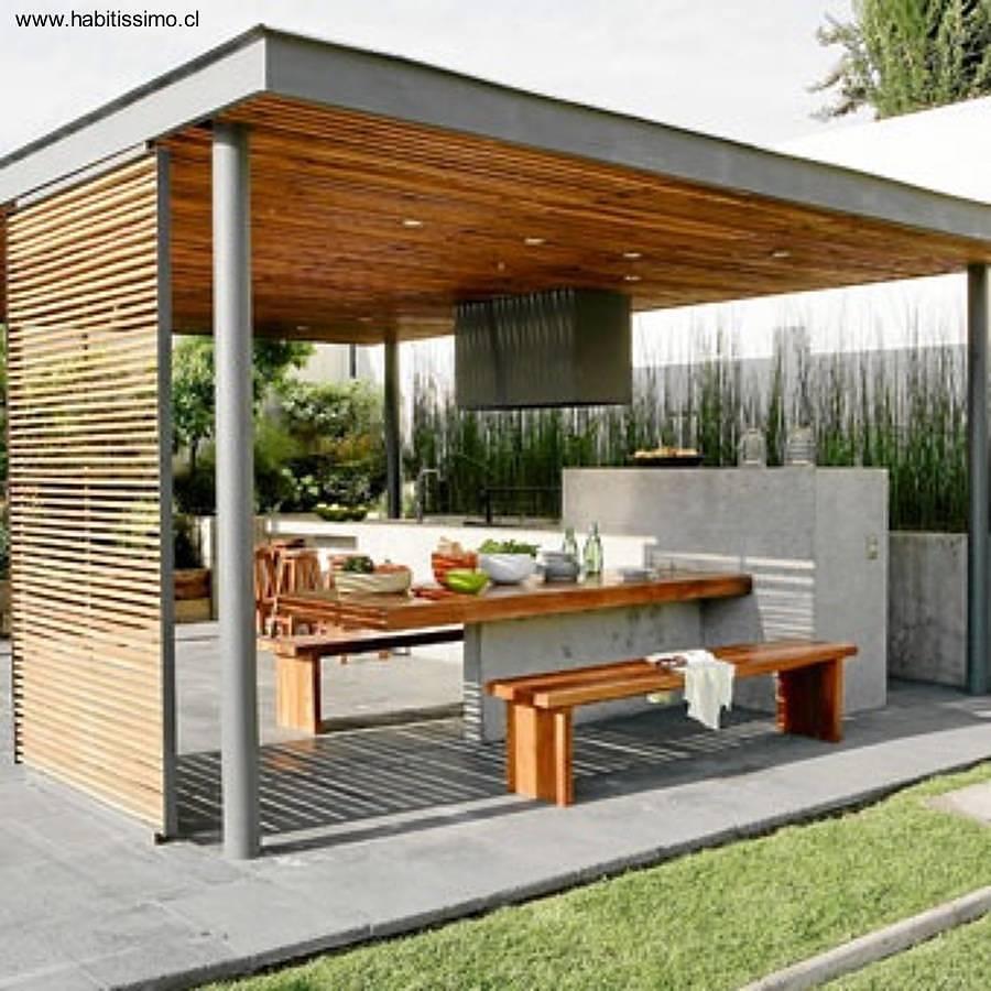 Pergolas de madera con asador styles for Ideas para hacer un techo en el patio