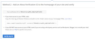 cara verifikasi website atau blog di alexa metode 2