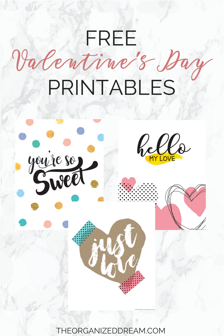 image relating to Valentine's Day Printable Decorations identified as Free of charge Valentines Working day Printables - The Ready Aspiration