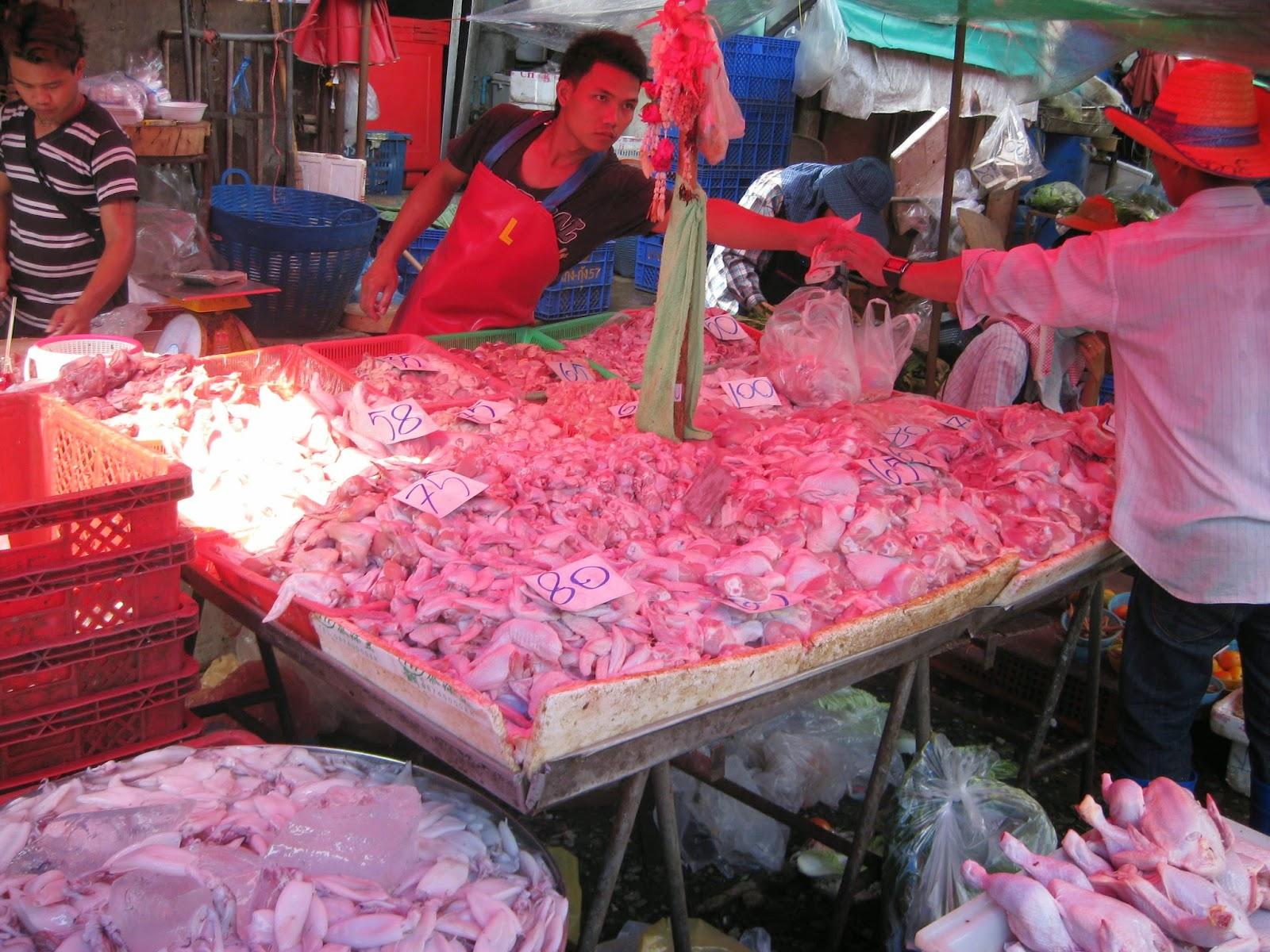 Bangkok - Wet market meat stalls
