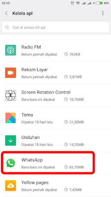 "Pilih Aplikasi Watshapp di menu ""Kelola Aplikasi"""