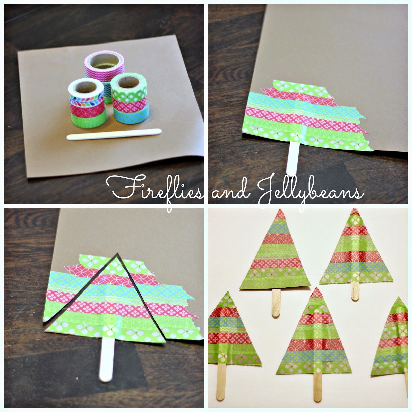 fireflies and jellybeans washi tape tree easy christmas craft is less then 5 minutes. Black Bedroom Furniture Sets. Home Design Ideas