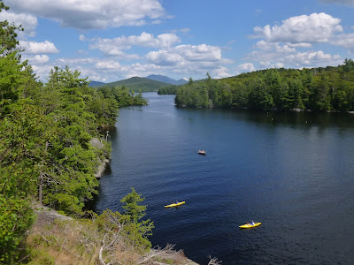 View from Bluff Island in Lower Saranac Lake.  The Saratoga Skier and Hiker, first-hand accounts of adventures in the Adirondacks and beyond, and Gore Mountain ski blog.