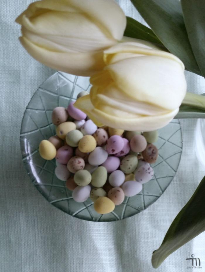 vaaleankeltaiset tulppaanit, pienet suklaamunat