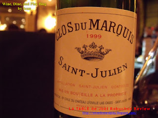 The Clos Du Marquis Bordeaux wine as an example of judging and critiquing a restaurant for have a good or poor selection of fine wines. This is an example of a good selection.