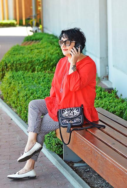 kratka vichy, spodnie w kratkę, vichy, red, black, white