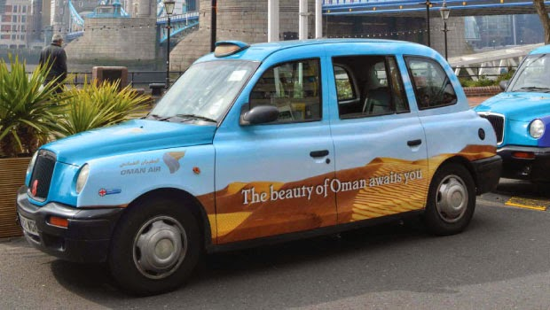 Transport Media - Oman Air London taxi campaign