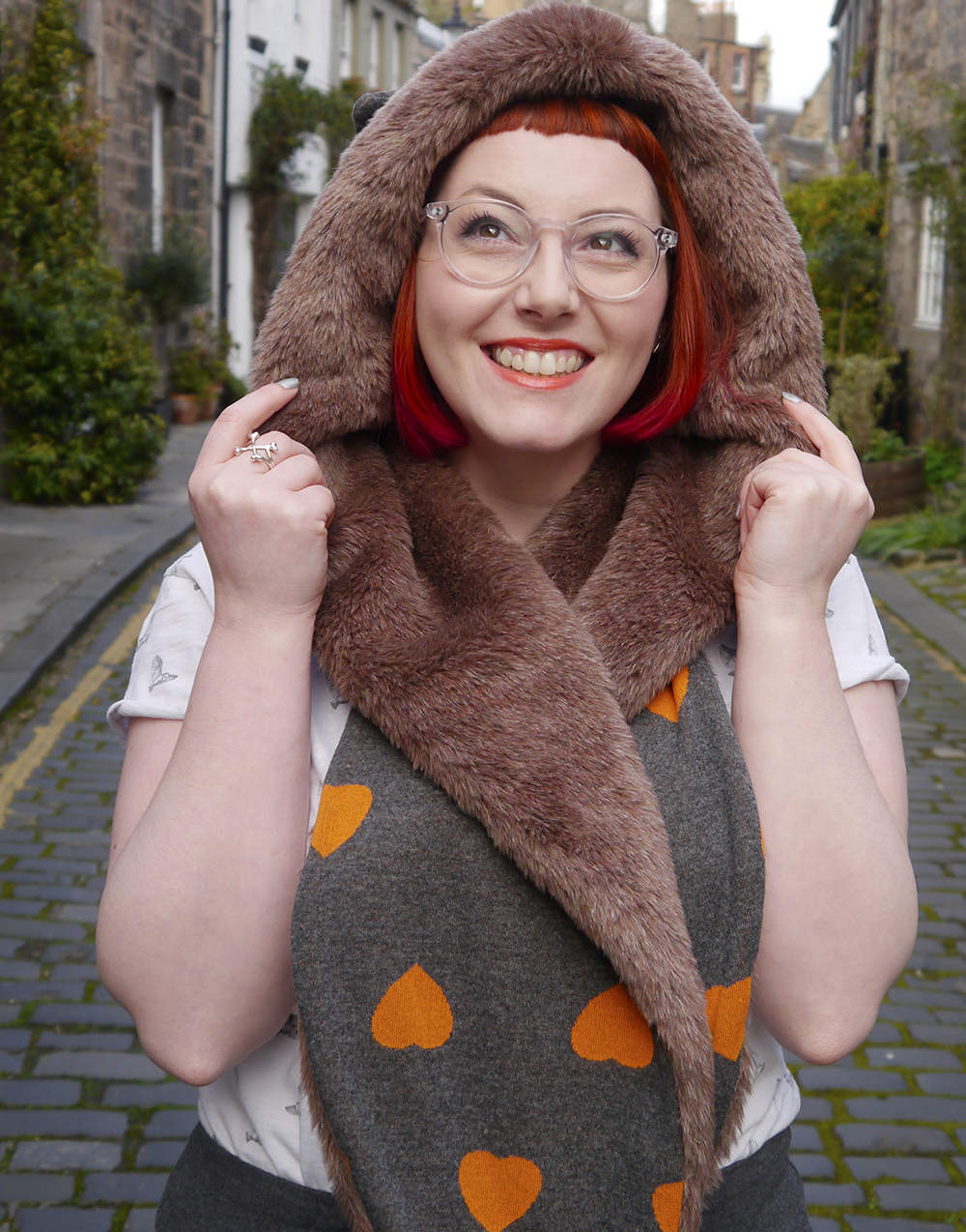 Styled by Helen, Scottish blogger, Scottish fashion blogger, red head, Chouchou, Chouchou Couture, fashion hood, hood scarf, kitty hood, kitty ears, faux fur, love heart print, pops of orange, bonnie bling, ginger, giner necklace, casual day look, casual everyday style, Edinburgh, Stockbridge Edinburgh, Edinburgh blogger, independent designer, #HOODGIRL