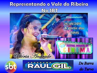 Revelação Mirim do Vale do Ribeira participará de um Festival no palco do Programa Raul Gil no SBT