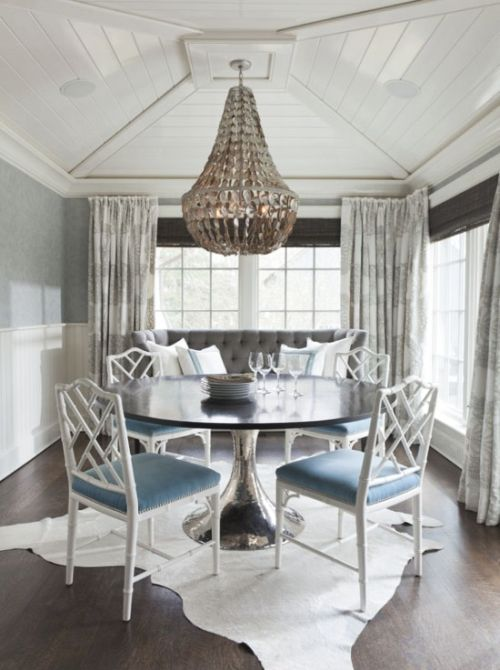 glamorous grey and blue dining room
