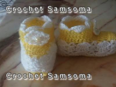طريقة عمل لكلوك الكروشيه خطوة بخطوة  crochet samsoma .crochet baby shoes. كروشيه جوارب بيبي . كريقة طروشيه حذاء بيبي .