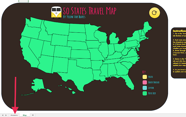image showing the travel map and how to change to the answers tab